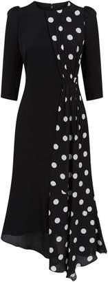 Andrew Gn Asymmetric Polka Dot Dress