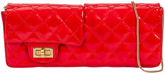 One Kings Lane Vintage Chanel Red Patent Double Clutch - Vintage Lux