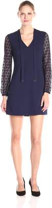 Jessica Simpson Women's Solid Shift with Lace Sleeves