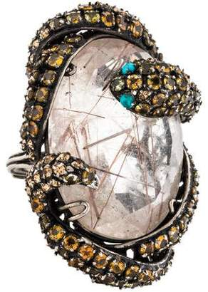 Iradj Moini Quartz, Citrine & Turquoise Snake Cocktail Ring