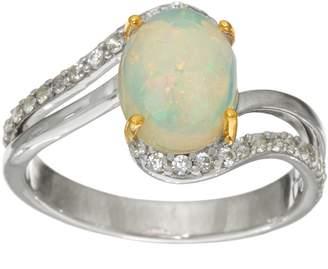 Ethiopian Opal & White Zircon Sterling Silver Ring