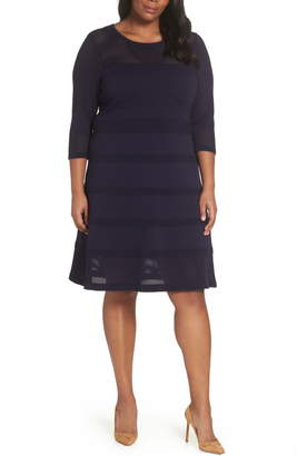 Vince Camuto Mixed Stitch Pointelle Fit & Flare Dress