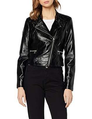 7ce75d74 Only Women's Onlhannah Glazed Faux Leather Biker OTW Jacket, Black, (Size:42