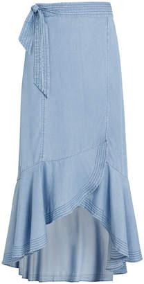 Intermix Katie Chambray Wrap Skirt