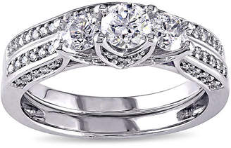 JCPenney MODERN BRIDE 1-1/10 CT. T.W. Diamond 14K White Gold 3-Stone Bridal Ring Set