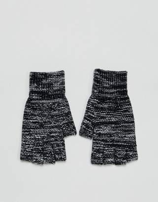 Asos Fingerless Gloves In Black Twist