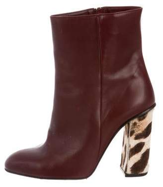 O Jour Leather Round-Toe Ankle Boots