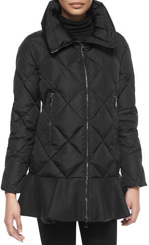 MonclerMoncler Vouglans Flounce-Hem Puffer Coat, Black/Navy