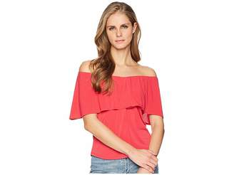 London Times Neck Ruffle V-Neck ITY Blouse Women's Blouse