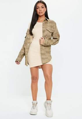 Missguided Taupe Crew Neck Bodycon Mini Dress