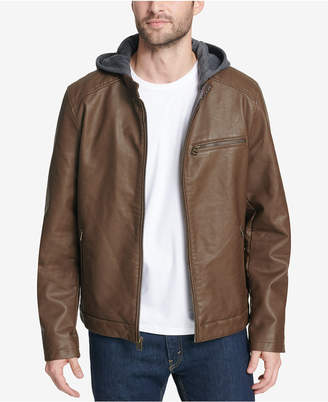 Levi's Men's Faux-Leather Hooded Jacket