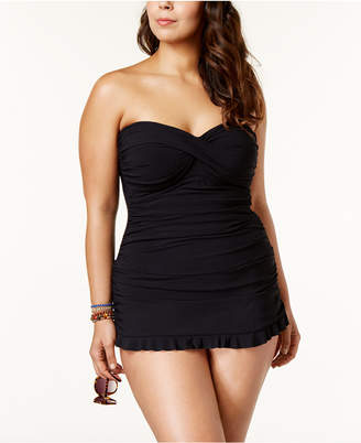 Gottex Profile by Plus Size Tummy-Control Ruched Ruffled Swimdress Women's Swimsuit