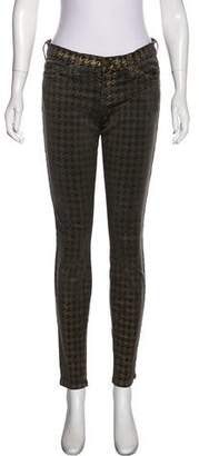 Current/Elliott Mid-Rise Houndstooth Print Jeans