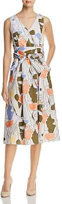 Lafayette 148 New York Aileen Print Tie-Waist Midi Dress