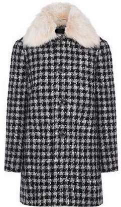 RED Valentino Faux Fur-Trimmed Houndstooth Bouclé Coat