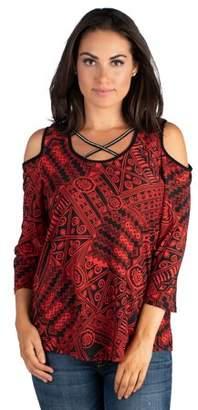 24seven Comfort Apparel Women's Womens Red Cold Shoulder Criss Cross Neck Top