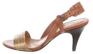 Lanvin Metallic Snakeskin Slingback Sandals