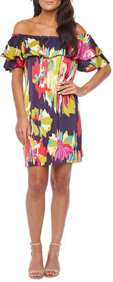 LONDON STYLE Off The Shoulder Abstract Shift Dress