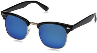 Zerouv Half Frame Semi-Rimless Horn Rimmed Sunglasses (Black-Gold/Blue Mirror)