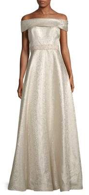Bardot Jacquard A-Line Gown
