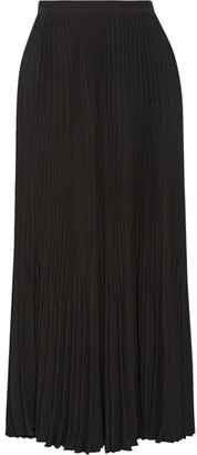 Theory - Laire Pleated Crepe Midi Skirt - Black $455 thestylecure.com