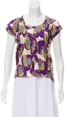 Marni Printed Short Sleeve Silk Top