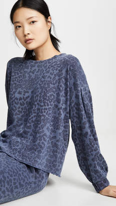 Sundry Leopard Ruched Pullover