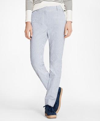 Brooks Brothers Petite Striped Stretch Cotton Seersucker Pants