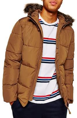 Topman Marling Faux Fur Collar Puffer Jacket