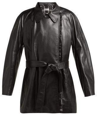 Balenciaga Belted Leather Coat - Womens - Black