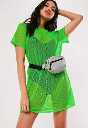 Missguided Neon Green Oversized Fishnet T Shirt Dress