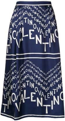 Valentino silk chevron logo skirt