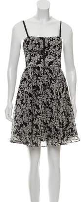 Alice + Olivia Silk Floral Print Sleeveless Dress Black Silk Floral Print Sleeveless Dress
