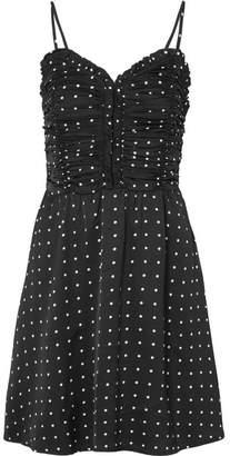 Maje Ruched Polka-dot Satin Mini Dress - Black