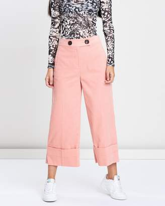 Topshop Cord Cropped Wide Leg Trousers