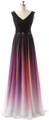 Annie's Bridal Women's Rainbow Chiffon Formal Evening Dresses Long Party Prom Gown US26W