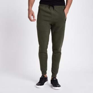 River Island Mens Khaki green jersey muscle fit joggers