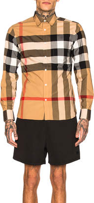 Burberry Giant Exploded Stretch Shirt in Camel Check   FWRD