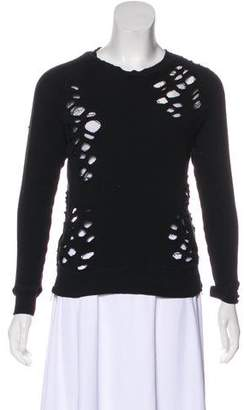 R 13 Distressed Scoop Neck Sweatshirt