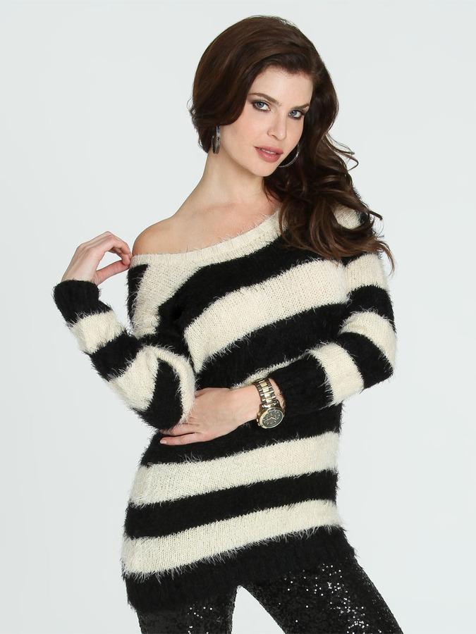 Arden B Eyelash Yarn Tunic Sweater