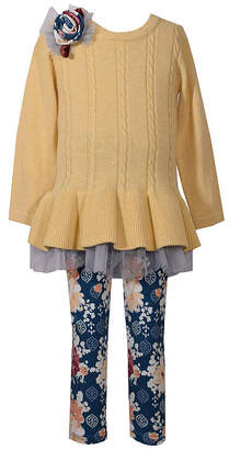 Bonnie Jean 2-pc Ruffle Hem Sweater Legging Set-Baby Girls