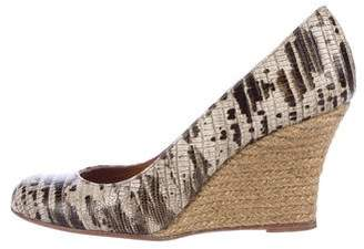 Lanvin Embossed Espadrille Wedge Pumps