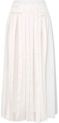 3.1 Phillip Lim Pleated Satin And Cotton-poplin Midi Skirt - White