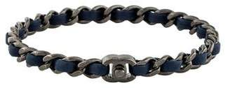 Chanel Turnlock CC Leather Woven Bangle