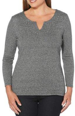 Rafaella Embellished Long-Sleeve Cotton Top