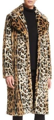 KENDALL + KYLIE Leopard-Print Faux-Fur Long Coat