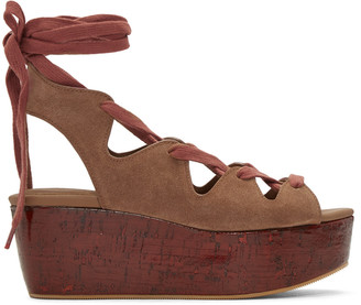 See by Chloé Brown Suede Lianna Flatform Sandals $315 thestylecure.com