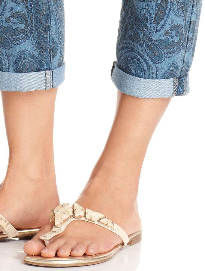 Style&Co. Jeans, Straight-Fit Capri, Blue Eden Print