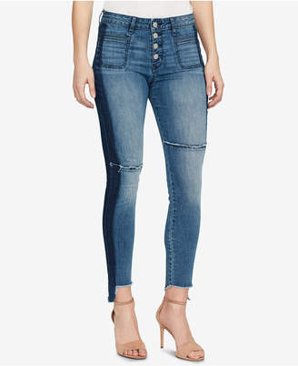 William Rast High-Waisted Frayed-Cuff Skinny Jeans