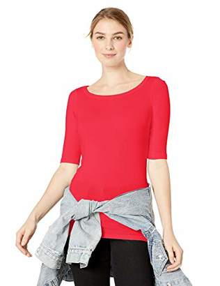 Michael Stars Women's Elbow Sleeve Wide Scoop Neck Tee